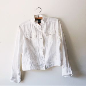 Carole Little cropped white linen jacket size M